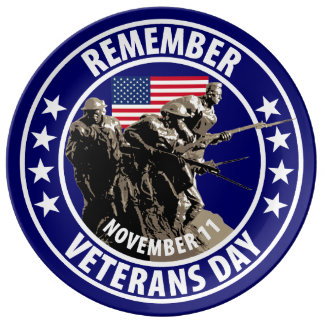 Remember Veterans Day Dinner Plate