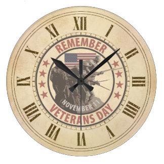 Remember Veterans Day Large Clock