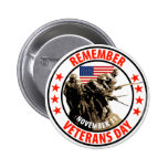 Remember Veterans Day Pinback Buttons