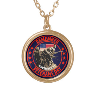 Remember Veterans Day Round Pendant Necklace