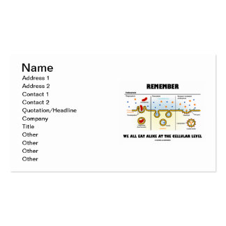 Remember We All Eat Alike At The Cellular Level Business Card Template