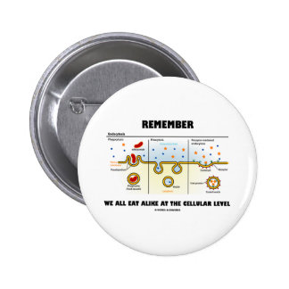Remember We All Eat Alike At The Cellular Level Pinback Buttons