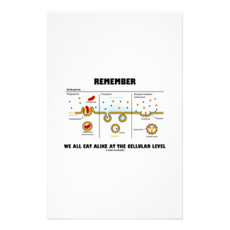 Remember We All Eat Alike At The Cellular Level Customized Stationery