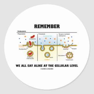 Remember We All Eat Alike At The Cellular Level Classic Round Sticker