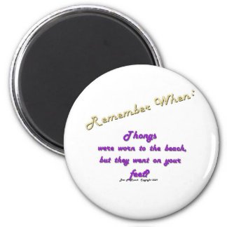 Remember When: Thongs on Beach (purple) 2 Inch Round Magnet