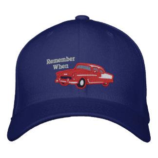 Remember When Vintage Retro Classic Car Baseball Cap