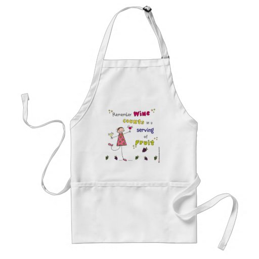 Remember Wine Counts As A Serving Of Fruit Adult Apron