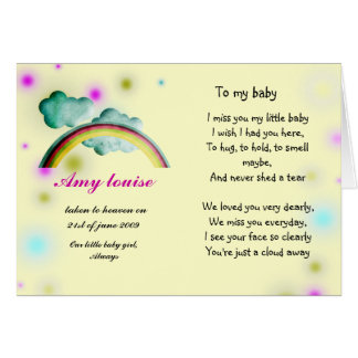 Rememberance card for baby girl or child