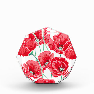 Rememberance red poppy field floral pattern acrylic award