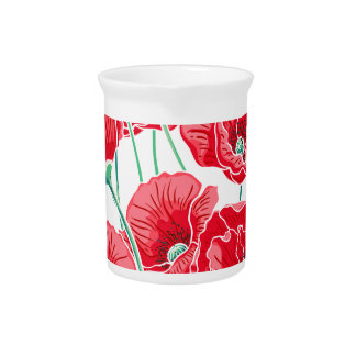 Rememberance red poppy field floral pattern beverage pitcher