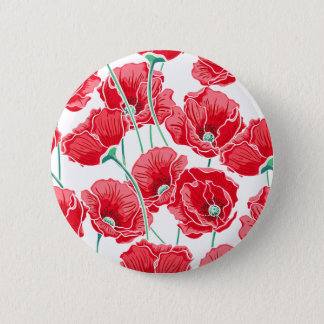 Rememberance red poppy field floral pattern button