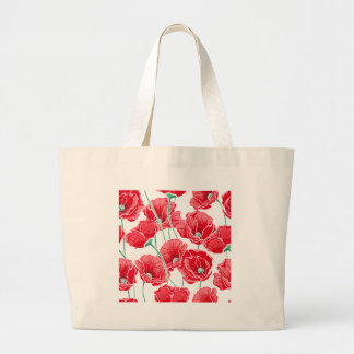 Rememberance red poppy field floral pattern large tote bag