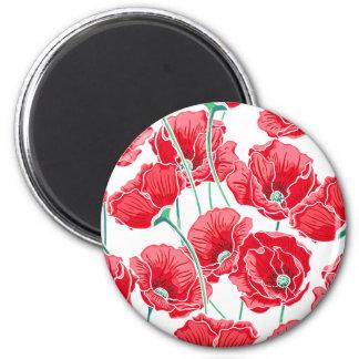 Rememberance red poppy field floral pattern magnet