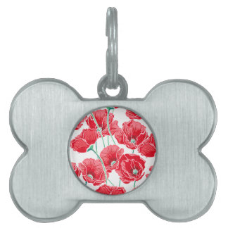 Rememberance red poppy field floral pattern pet name tag