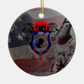 Remembere the fall Viet Nam Heroes Double-Sided Ceramic Round Christmas Ornament