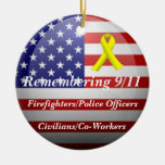 Remembering 9/11 Double-Sided ceramic round christmas ornament