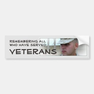 Remembering All Who Have Served Vet Bumper Sticker Car Bumper Sticker