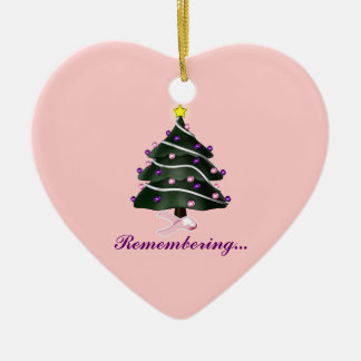 """""""Remembering.."""" Christmas Tree/Breast Cancer Aware Ceramic Ornament"""
