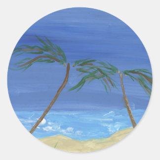 Remembering Sunny Times Landscape Art Classic Round Sticker