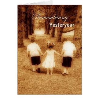 Remembering Yesteryear (Kids walking in woods) Card