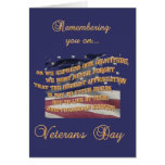 Remembering you on Veteran's Day Greeting Card