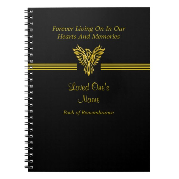 Remembrance Condolence book, golden rising phoenix Spiral Notebook