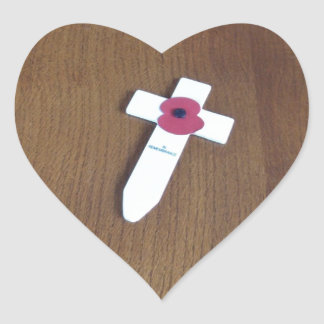 Remembrance Day Cross Heart Sticker