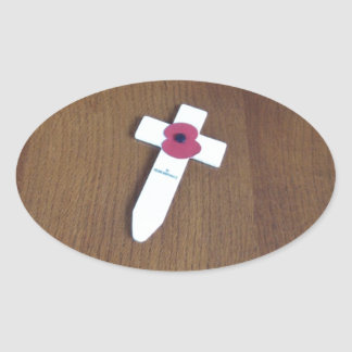 Remembrance Day Cross Oval Sticker