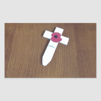 Remembrance Day Cross Rectangular Sticker