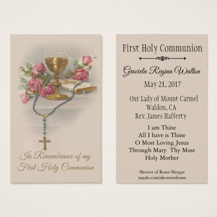 Remembrance Holy Card For First Holy Communion Zazzle.com