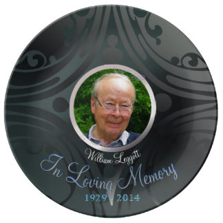 Remembrance Memorial Image Black Ebony Dinner Plate