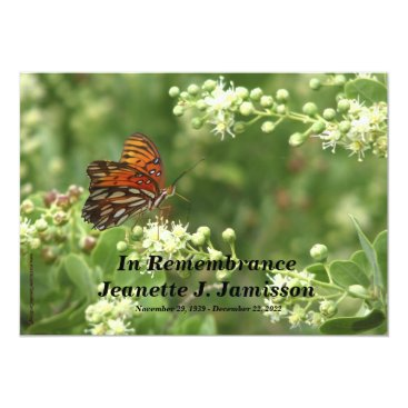SocolikCardShop Remembrance Memorial Service Invitation, Butterfly Card