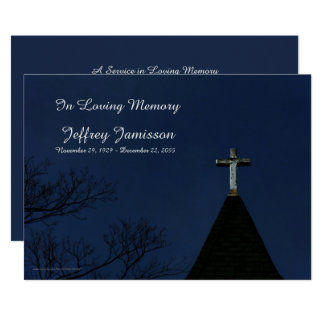 Remembrance Memorial Service Old Wooden Cross Card