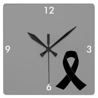 Remembrance, Mourning Black Awareness Ribbon Wall Clocks