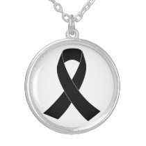 Remembrance, Mourning Black Awareness Ribbon Silver Plated Necklace