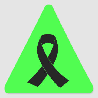 Remembrance, Mourning Black Awareness Ribbon Triangle Stickers