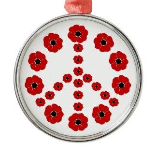 Remembrance Poppies Peace Symbol Pendant Ornament