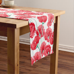 Remembrance red poppy field floral pattern short table runner