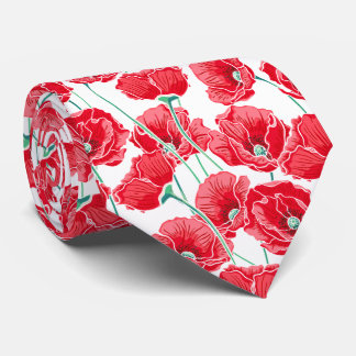 Remembrance red poppy field floral pattern tie