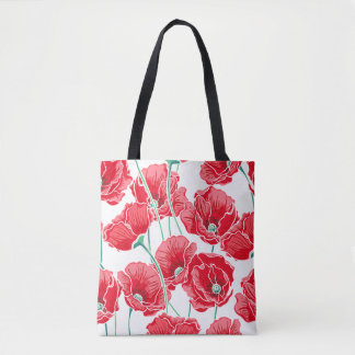 Remembrance red poppy field floral pattern tote bag