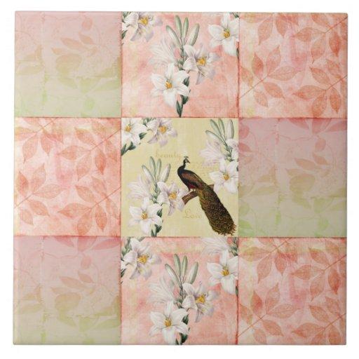 Remiendo bonito del melocotón azulejo cuadrado grande