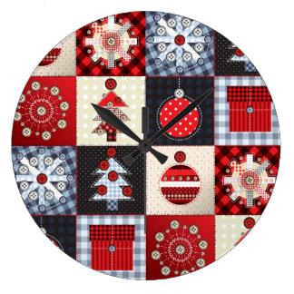 Remiendo caprichoso Qui del navidad de la guinga Reloj Redondo Grande