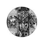 Remiendo, collage del cráneo relojes de pared