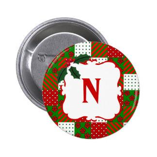 Remiendo con monograma del edredón del navidad pin redondo de 2 pulgadas