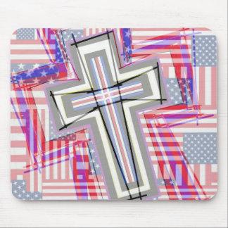 Remiendo de cruces y de banderas mouse pad