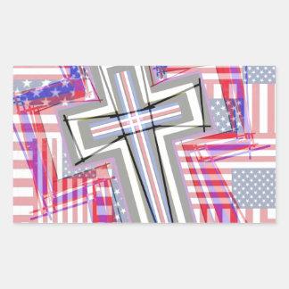 Remiendo de cruces y de banderas rectangular pegatinas