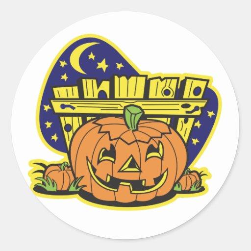 Remiendo de la calabaza de Halloween Pegatina Redonda
