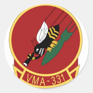 remiendo de la marina de guerra vma-331 pegatina redonda
