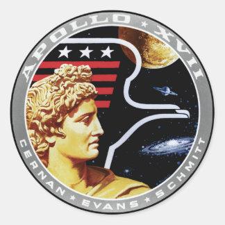 Remiendo de la misión de Apolo 17 Pegatina Redonda