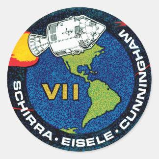 Remiendo de la misión de Apolo 7 Pegatina Redonda